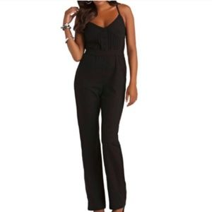 Kardashian Kollection | Black Tuxedo Jumpsuit XS